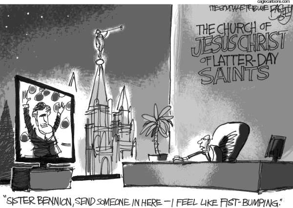 Pat Bagley - Salt Lake Tribune - The Mormon Moment - English - Mitt, Romney, Church of Jesus Christ of Latter-day Saints, Mormon, Mormons, GOP, Convention, Nominee, Mitt Romney, Utah, Tampa, Candidate, 2012