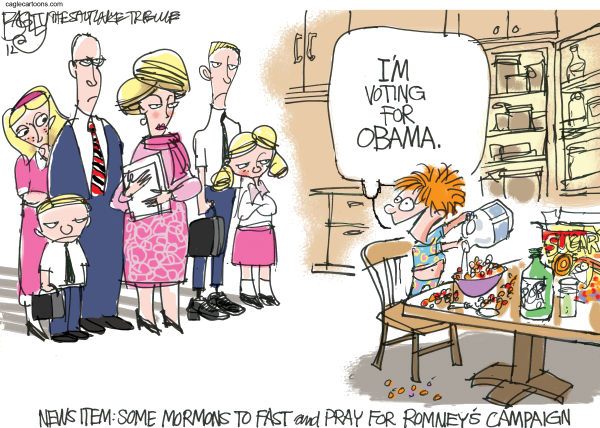 Pat Bagley - Salt Lake Tribune - LDS Pray for Romney - English - LDS, Mormons, Fast, Pray, Romney, Campaign, 2012, Utah