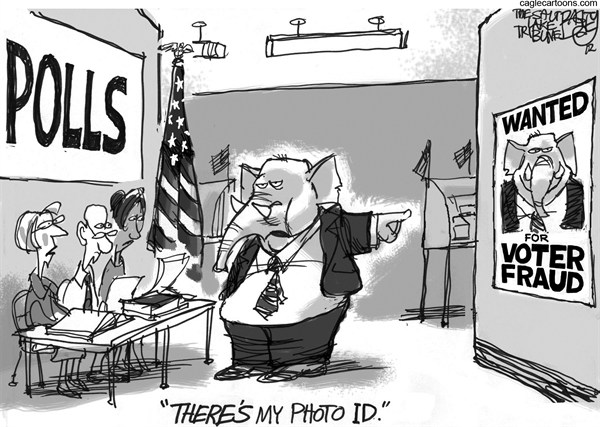 Pat Bagley - Salt Lake Tribune - Real Vote Fraud - English - Vote, Voters, Fraud, Voter Fraud, Republicans, GOP, Florida, Voter Suppression, Registration, Polls, Voter ID, Photo ID, Government ID, Sproul, Dirty Tricks, Stolen Election