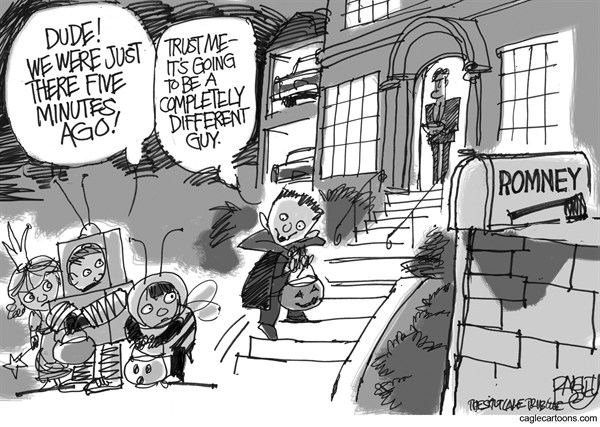 Pat Bagley - Salt Lake Tribune - Trick or Treat Mitt - English - Mitt, Romney, Halloween, Trick or Treat, Campaign, Etch-a-Sketch, Moderate, Conservative, Severely Conservative