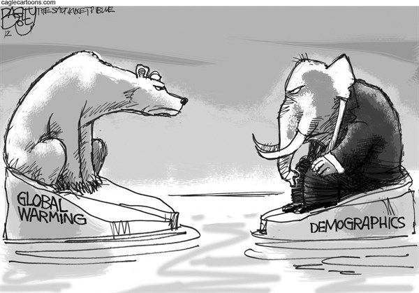 Pat Bagley - Salt Lake Tribune - GOP On Ice - English - GOP, Global Warming, Sea Ice, Arctic, Polar Bears, Climate Change, Republicans, Demographics, Women, Latinos, Hispanics, Blacks, Big Tent, White Voters