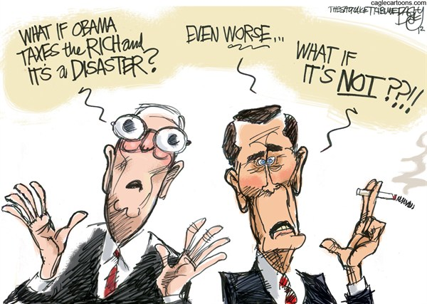 Fiscal Cliff Notes © Pat Bagley,Salt Lake Tribune,McConnell,Boehner,Fiscal Cliff,Taxes,Norquist,Grover,Rich,Wealthy,2,Top Earners,Republicans,Trickle Down,Tax Rates,GOP,fiscal cliff