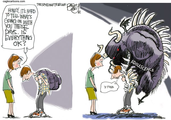 Teen Burden © Pat Bagley,Salt Lake Tribune,Teenagers,Teen,Adolescence,Angst,Burden,Suicide,Teen Suicide,Intervention,Parents,Bullying
