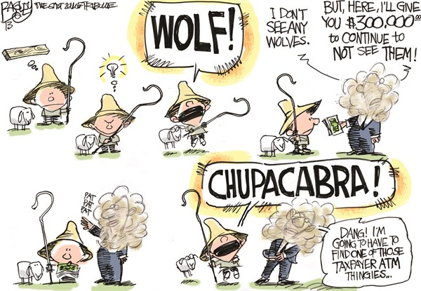 Pat Bagley - Salt Lake Tribune - LOCCAL Cry Wolf - English - Utah, Legislature, Wolf, Wolves, Corruption