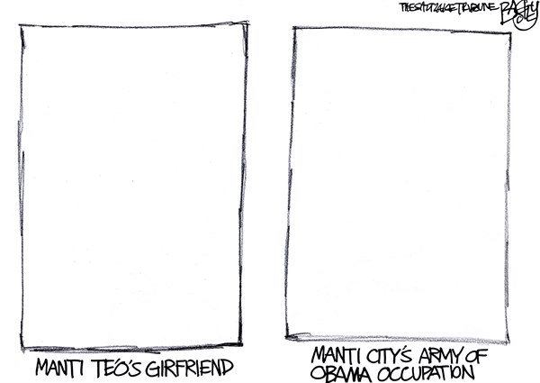 Pat Bagley - Salt Lake Tribune - LOCAL Manti Paranoia - English - Manti, Army, Green Beret, Manti Teo, Tin Foil Hat, Obama Tyranny