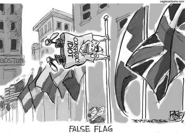 Pat Bagley - Salt Lake Tribune - False Flag - English - Boston, Bomb, Marathon, Boston Marathon, Murder, Terror, Terrorism, False Flag, Conspiracy, Conspiracy Theories, Truthers