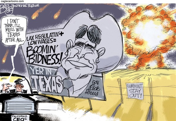 Texas Boom Town © Pat Bagley,Salt Lake Tribune,Texas,Rick Perry,Regulation,Deregulation,Fertilizer Plant,Explosion,West,Inspection,Regulatory,Perry,texas explosion