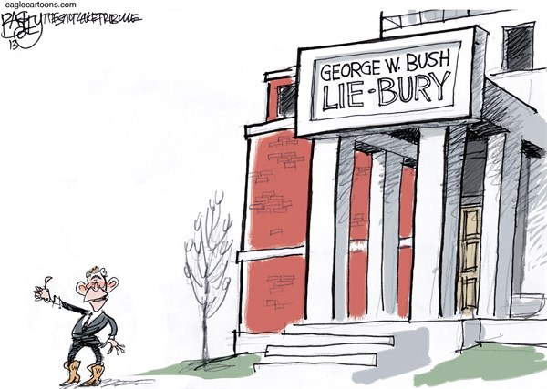 Pat Bagley - Salt Lake Tribune - Bush Library - English - Bush, George W Bush, Library, Texas, Dedication