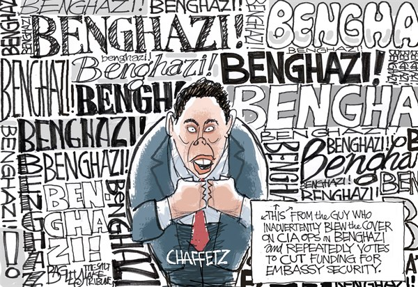 BENGHAZI © Pat Bagley,Salt Lake Tribune,Benghazi,Chaffetz,Cot,Congress,Obama,Libya,Scandal,CIA,Embassy,Security,Stevens,benghazi coverup