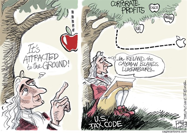Pat Bagley - Salt Lake Tribune - Taxes and Gravity - English - Isaac Newton, Newton, Apple, GE, Google, Taxes, Tax Havens, Tax Avoidance, Ireland