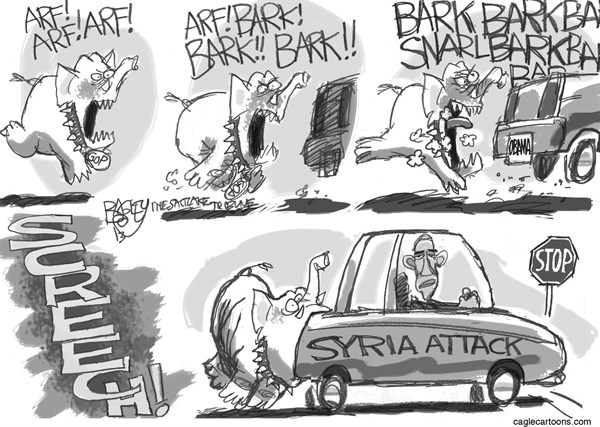Pat Bagley - Salt Lake Tribune - The Dog of War - English - Congress, War, War Powers, Congressional, Constitution, Obama, Syria, Attack, Assad