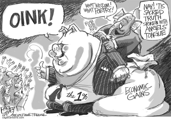 Pat Bagley - Salt Lake Tribune - Pig Heaven  - English - One Percent, Rich, Oligarchs, Plutocracy, Money, Wealth, Rich, Wall Street, Wall St, Inequality, Greed, Pigs, Income, Economic Gains