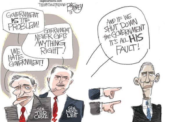 Government Shutdown Fail © Pat Bagley,Salt Lake Tribune,Government,Shutdown,Ted Cruz,Mike Lee,Obama,Defund,Obamacare