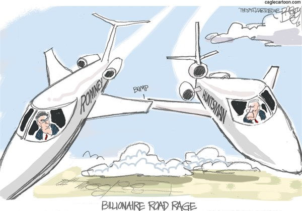 Huntsman and Romney © Pat Bagley,Salt Lake Tribune,Huntsman, Romney, Jets, 1, Billionaires, Plutocrats, Taxes, Double Down, Halperin, Heilemann