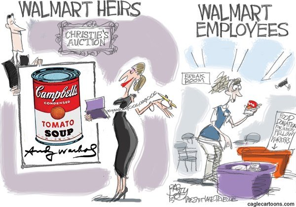 Pat Bagley - Salt Lake Tribune - Walmart Welfare Queens - English - Walmart, Walton, Heirs, Inherit, Trust Fund Babies, Welfare, Food Donation, SNAP, Food Stamps, Living Wagge, Inequality, Holidays, Christmas, Thanksgiving