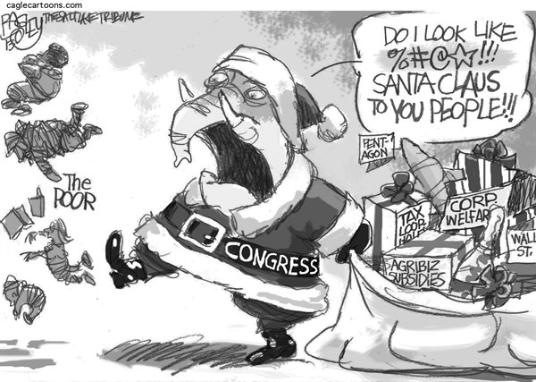 Pat Bagley - Salt Lake Tribune - Jolly Old Elephant - English - Elf, Santa, GOP, Corporate Welfare, The Poor, Republicans, Pentagon, Agribusiness, Business, Welfare, Corporate, Wall St, SNAP, Food Stamps