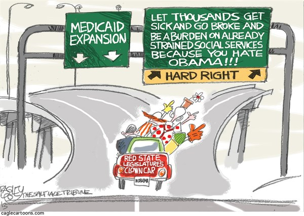 Pat Bagley - Salt Lake Tribune - Medicaid Expansion - English - Medicaid, Obama, Expansion, Obamacare, ACA, GOP, Republicans, States, Florida, State Legislatures, Poor, Poverty, Health Care, Insurance