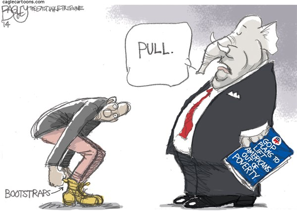 Pat Bagley - Salt Lake Tribune - Republican Plan for the Poor - English - GOP, Poverty, War on Poverty, Poor, LBJ, Paul Ryan, Republicans