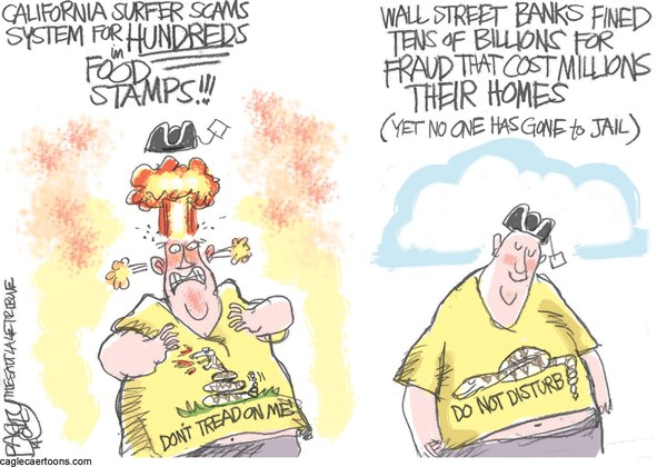 Welfare Cheats © Pat Bagley,Salt Lake Tribune,Welfare, Food Stamps, Surfer, SNAP, Banks, Fraud, Mortgage, Wall St