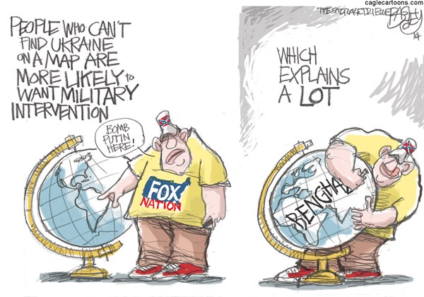 Fox News Map © Pat Bagley,Salt Lake Tribune,Fox News,Fox,Fox Nation,Ukraine,Crimea,Putin,Republicans,Globe,World,Benghazi,Map,World Map,Military,Invasion,GOP