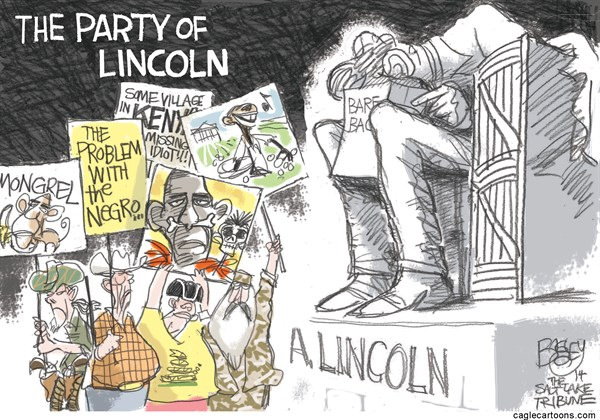 Pat Bagley - Salt Lake Tribune - Racist Republicans - English - Racism, Racist, GOP, Republicans, Lincoln, Lincoln Memorial, Bundy, Cliven Bundy, Duck Dynasty, Ted Nugent, Mongrel, Subhuman, Obama, Slavery