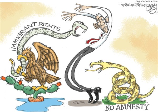 Immigrant Rights   No Amnesty © Pat Bagley,Salt Lake Tribune,immigration,amnesty,mexico,flag,eagle,snake,President Barack Obama