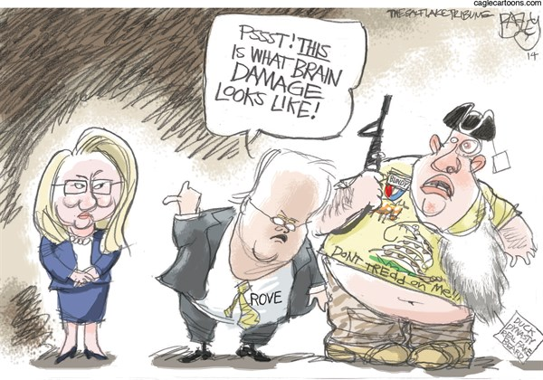 Pat Bagley - Salt Lake Tribune - Hillary's Brain - English - Hillary, Rove, Tea Party, GOP, Republicans, Brain, Brain Damage, 2016, President, Bundy, Duck Dynasty