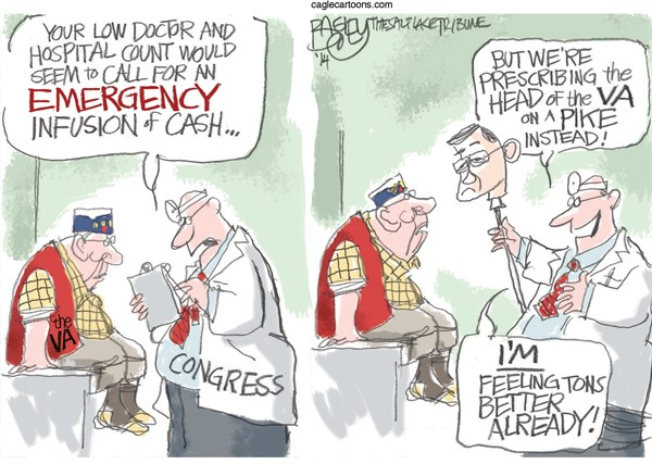 Fixing the VA © Pat Bagley,Salt Lake Tribune,VA, Shinseki, Wait Time, Veterans Administration, Health Care, Medicine, Doctors, Congress, Veterans, Republicans, Resignation, GOP
