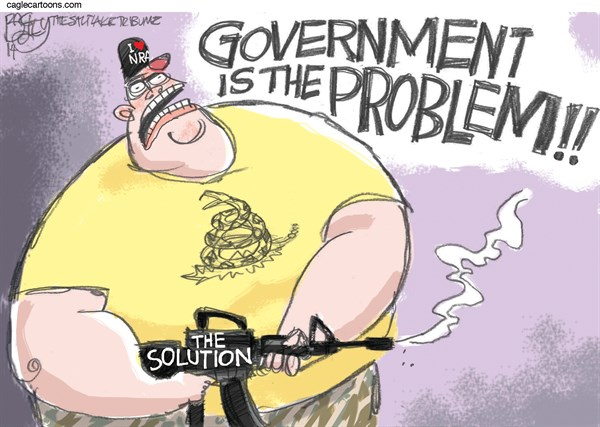 The Solution to Government © Pat Bagley,Salt Lake Tribune,Government, Government is the Problem, Shooting, NRA, Bundy, Bundy Ranch, Guns, Revolution, Right Wing, RWNJ, Racist, Racism, Tea Party