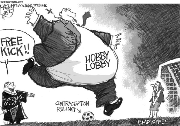 Pat Bagley - Salt Lake Tribune - Hobby Lobby Goal - English - Hobby Lobby, Contraception, Contraceptives, Religion, Religious, After Morning Pill, Christian, Business, Alito, Supreme Court, Ruling, Courts