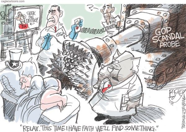 GOP Probes © Pat Bagley,Salt Lake Tribune,Darrell Issa,Issa,Probes,Probe,Investigation,Benghazi,IRS,Republicans,Obama,Investigations,Scandal,Scandals,NSA,Fast and Furious,GOP, Obamacare
