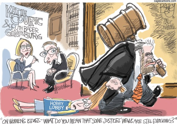 Pat Bagley - Salt Lake Tribune - Women and SCOTUS - English - Women, Katie Coiuric, Couric, Ginsburg, Ruth Bader Ginsburg, Supreme Court, Hobby Lobby, SCOTUS, Scalia, Alito, Feminism, Caveman, Birth Control, Contraception