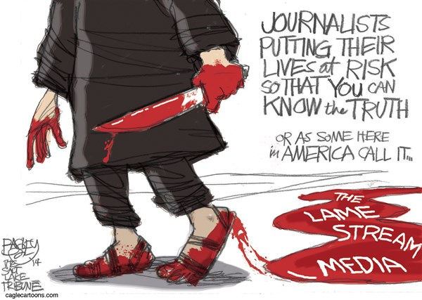 Murdering the Truth © Pat Bagley,Salt Lake Tribune,ISIS, ISIL, IS, Murder, Blood, Journalist, Reporter, Lame Stream Media, Steven Sotloff, Sotloff, Beheading, Execution, Media, Iraq, Syria