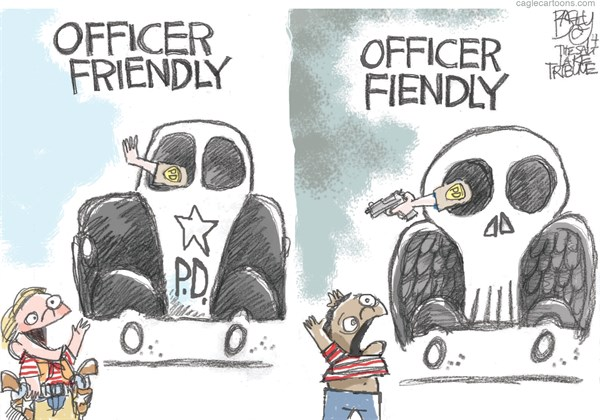 Officer Friendly © Pat Bagley,Salt Lake Tribune,Ferguson, Police, Militarized, Violence, Civil, Michael Brown, Eric Garner, Darren Wilson, Tamir Rice, Unarmed, Black, Tamir