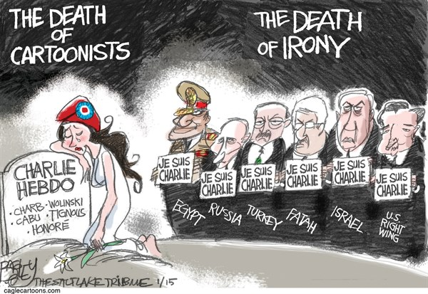 Mourning Charlie Hebdo © Pat Bagley,Salt Lake Tribune,Charlie Hebdo, Charlie, Je Suis Charlie, Terrorism, Charb, Lignous, Honore, Cabu, Wolinski, Putin, Russia, Paris, March, Egypt, Turkey, Free Speech, Freedom, Cartoonists, France, Islam, Muslims, Muhammad