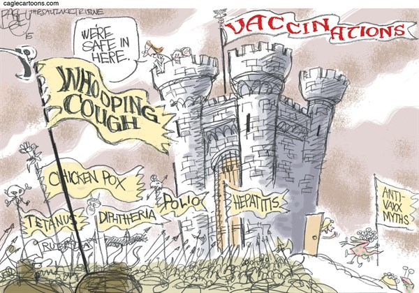 Anti Vaxxers © Pat Bagley,Salt Lake Tribune,Vaccine, Vaccination, Jenny McCarthy, Immune, Immunization, Inoculation, Small Pox, Measles, Disneyland, Immunity, Medicine, Whooping Cough, Diphtheria