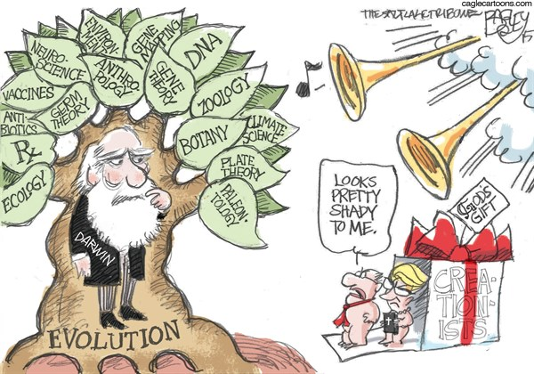 Evolution and Darwin © Pat Bagley,Salt Lake Tribune,Darwin, Evolution, Charles Darwin, Darwinism, Science, Anti-science, Creationists, Creationism, Fundamentalists, Religion