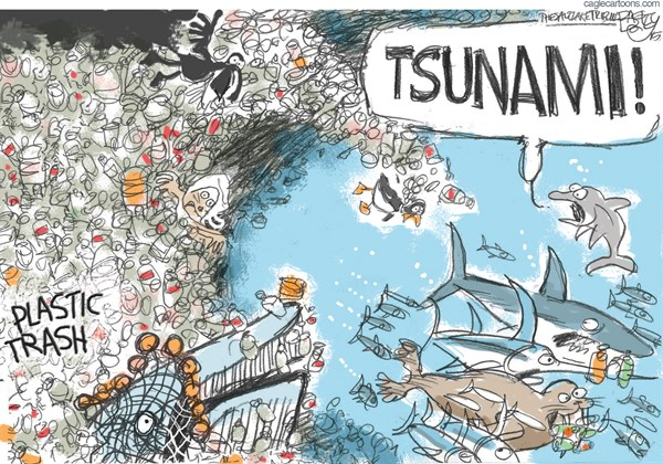 Plastic in Oceans © Pat Bagley,Salt Lake Tribune,Oceans, Pollution, Sea Life, Gyre, Plastic, trash, Junk, Pacific, Atlantic, Plastic, Waste, Fish, Whales