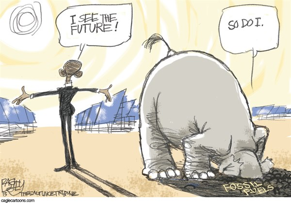 Future is Bright © Pat Bagley,Salt Lake Tribune,Energy, Solar, Solar Power, Solar Panels, Sun, Fossil Fuels, Coal, Oil, Gas, Fracking, Drilling, Utilities, Electricity, Electric Utilities, Generators, Obama, GOP, McConnell