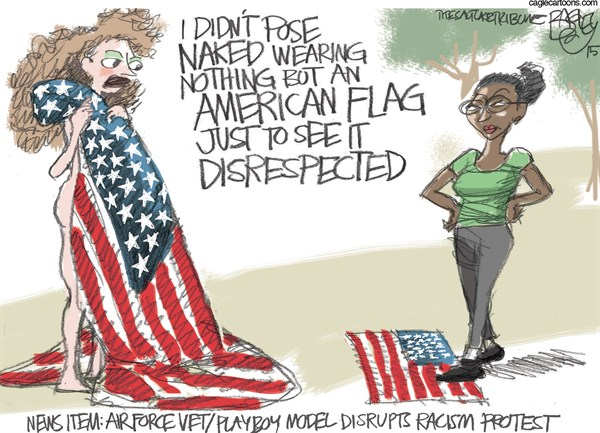 Naked Patriotism © Pat Bagley,Salt Lake Tribune,Nude,Playboy,Michelle Manhart,Flag,Protest,Air Force,Posing,Stars and Stripes,PETA,Racism,Racists,White Privilege,College