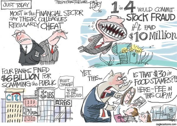 Moochers and Takers © Pat Bagley,Salt Lake Tribune,Takers, Moochers, Lazy, Welfare, Wall Street, Financial, Banks, Citibank, UBS, JPMorgan, Lies, Cheating, Scam, Fraud, SNAP, Food Stamps, Republicans, Pee, Drug Test, Urine Test