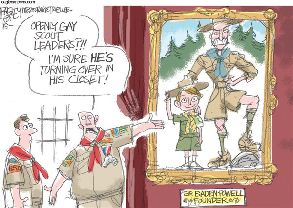 Boy Scouts Unprepared © Pat Bagley,Salt Lake Tribune,Boy Scouts,BSA,Robert Gates,LGBT,Gay,Scout Leaders,Scouts,Churches,Homosexual,Robert Baden-Powell,Baden-Powell,Scouting