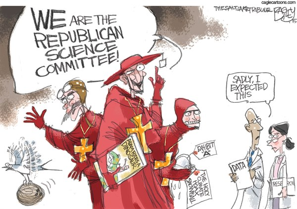Republican Science © Pat Bagley,Salt Lake Tribune,Republicans, Congress, Science, GOP, Research, NOAA, Funding, NASA, Climate, Global Warming, Snowball, Creationism, Grants, Climate Change, Monty Python, Spanish Inquisition, Scientific, Scientific Inquiry