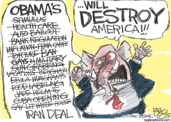 Full of Sound and Fury © Pat Bagley,Salt Lake Tribune,GOP,Republicans,Iran,Iran Deal,Nuclear Deal,Kerry,Obama,Boehner,Netanyahu,McConnell,Neocons,War,Khameini,Rouhani,
