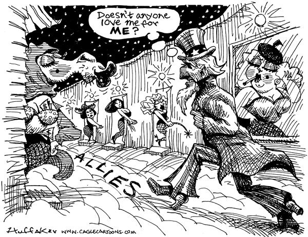 Huffaker - Politicalcartoons.com - Allies - English - Allies, Uncle Sam, France, hookers, Saudi Arabia
