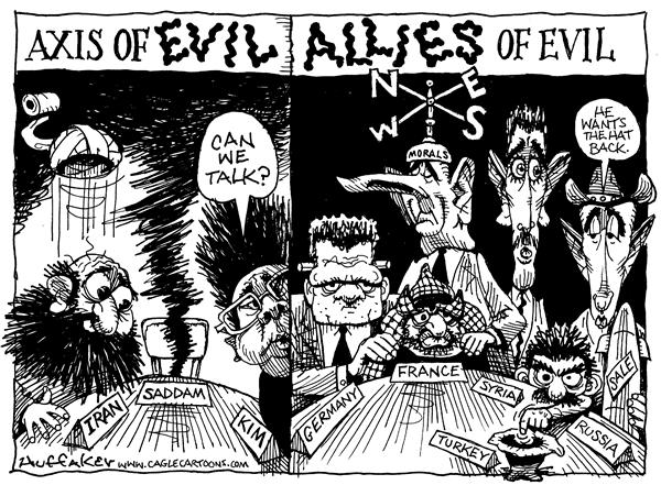 Huffaker - Politicalcartoons.com - Evil Allies - English - Axis of Evil, France. Germany, Turkey, Russia, Syria