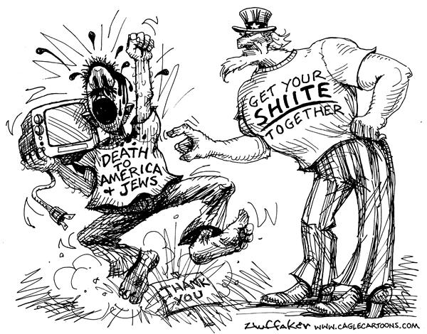 Huffaker - Politicalcartoons.com - Together Shiite - English - Shiites, Uncle Sam, death to America, Jews, looting