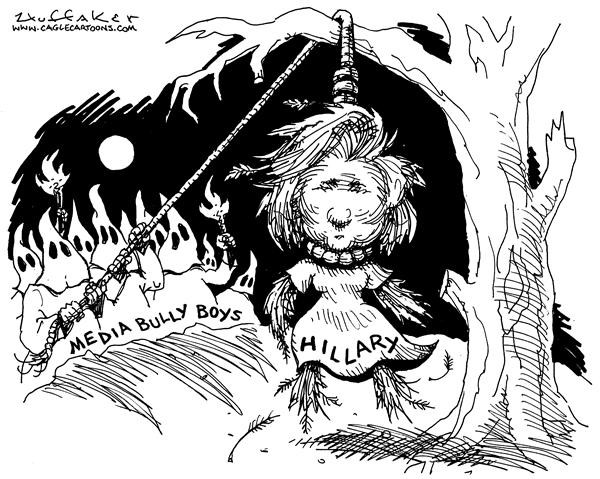 Huffaker - Politicalcartoons.com - Hanging Hillary - English - Hillary Clinton media bully boys KKK