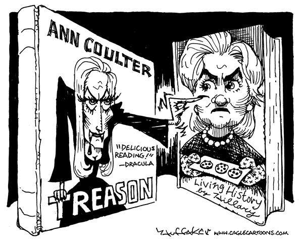 Huffaker - Politicalcartoons.com - Ann Coulter and Hillary - English - Ann Coulter Hillary Living history Treason Dracula