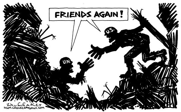 Huffaker - Politicalcartoons.com - Friend Again - English - UN bombing Iraq terrorism